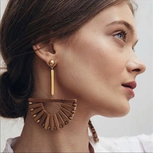 Jewelry - New! Demetria Wooden & Gold Fan Drop Earrings